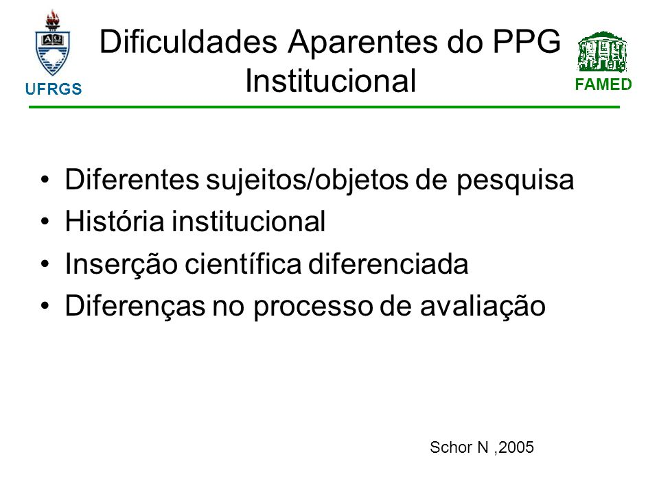 FAMED UFRGS Dificuldades Aparentes do PPG Institucional Diferentes sujeitos/objetos de pesquisa História institucional Inserção científica diferenciada Diferenças no processo de avaliação Schor N,2005