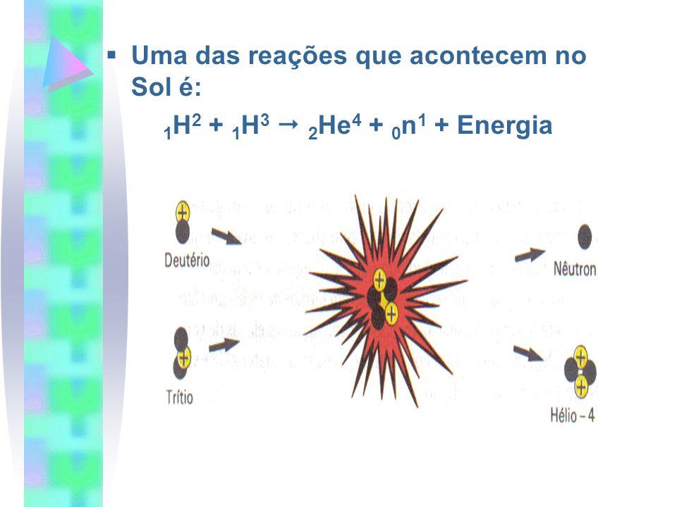 Uma das reações que acontecem no Sol é: 1 H 2 + 1 H 3 2 He 4 + 0 n 1 + Energia