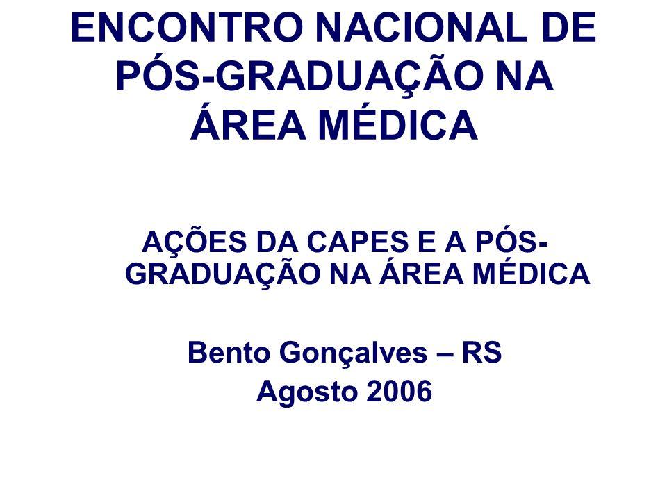 ENCONTRO NACIONAL DE PÓS-GRADUAÇÃO NA ÁREA MÉDICA AÇÕES DA CAPES E A PÓS- GRADUAÇÃO NA ÁREA MÉDICA Bento Gonçalves – RS Agosto 2006