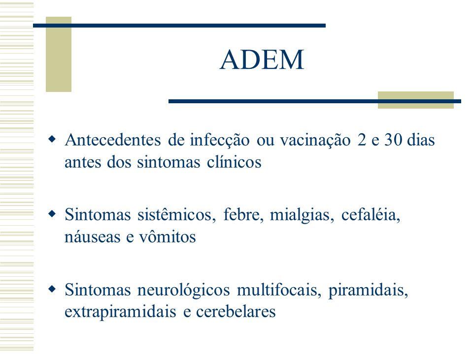 ADEM Antecedentes de infecção ou vacinação 2 e 30 dias antes dos sintomas clínicos Sintomas sistêmicos, febre, mialgias, cefaléia, náuseas e vômitos S