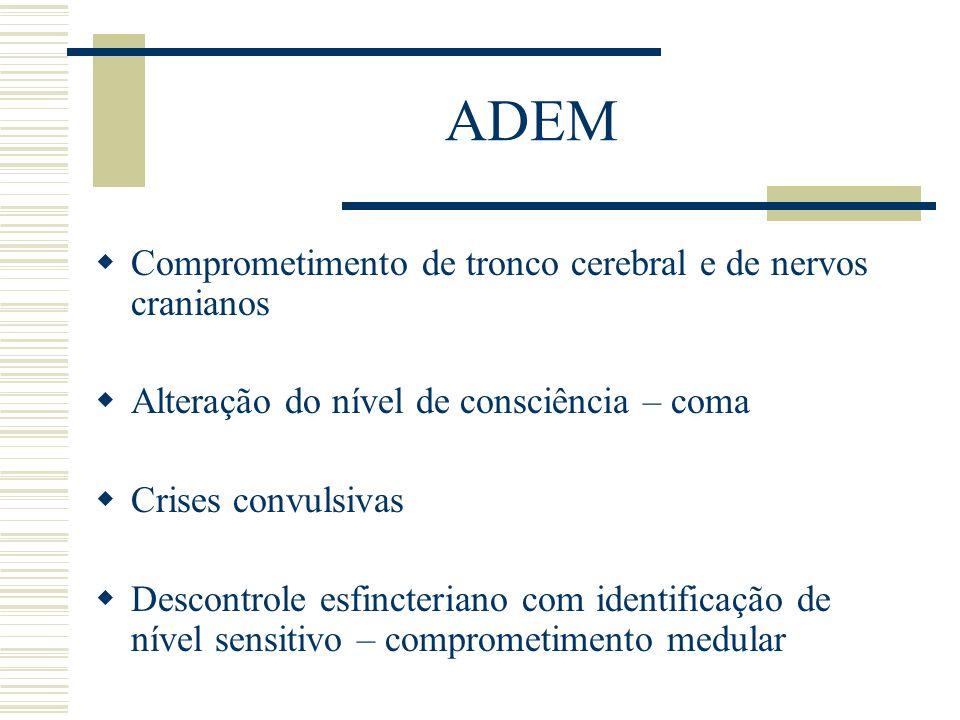 ADEM - Prognóstico 10 sériesLatina Recidivas14 %12% Mortalidade0% Recuperação total74%80% Seqüelas26%20% Seqüelas motoras17%16% Seqüelas comp/conduta9%4%
