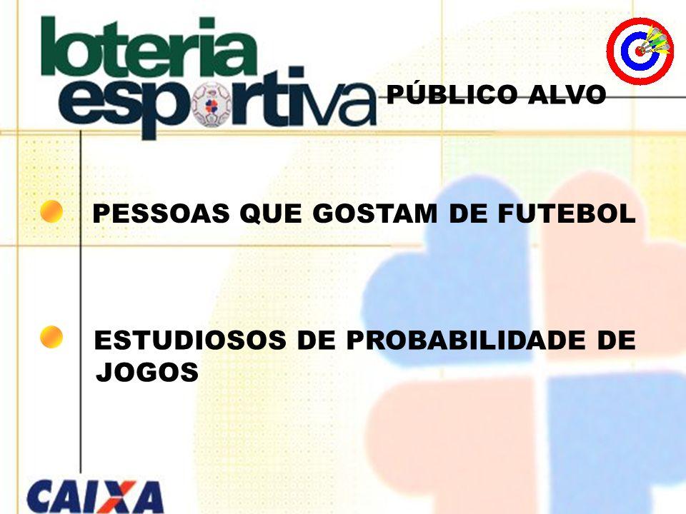 PÚBLICO ALVO PESSOAS QUE GOSTAM DE FUTEBOL ESTUDIOSOS DE PROBABILIDADE DE JOGOS