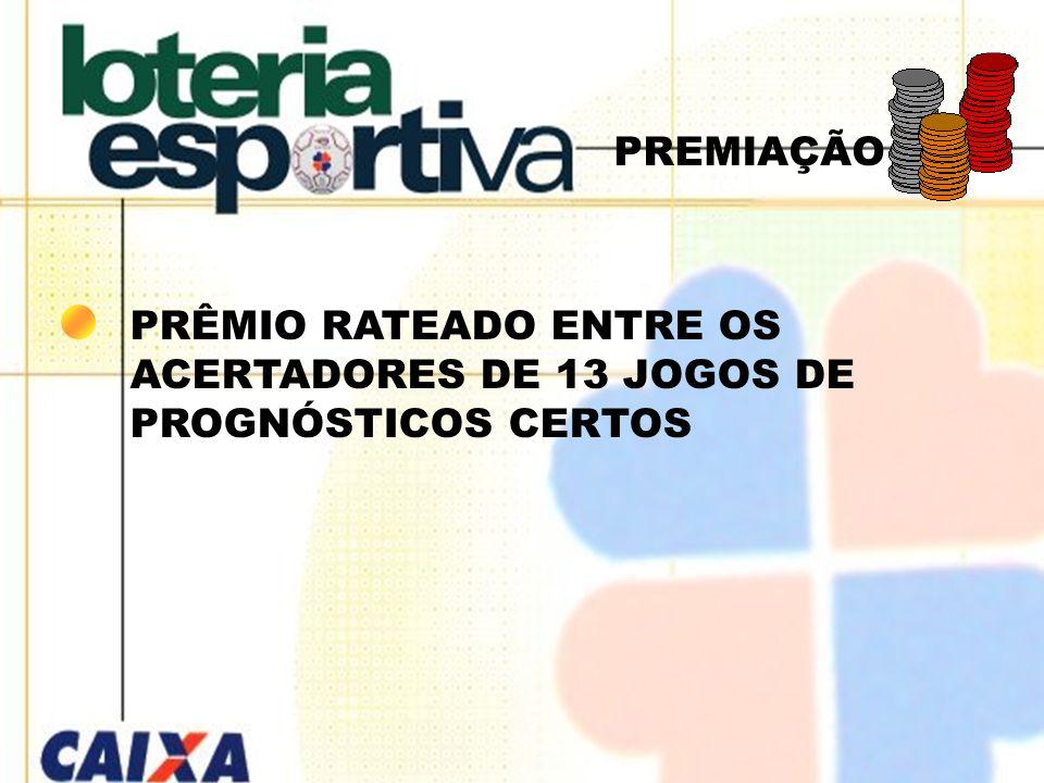 PREMIAÇÃO PRÊMIO RATEADO ENTRE OS ACERTADORES DE 13 JOGOS DE PROGNÓSTICOS CERTOS