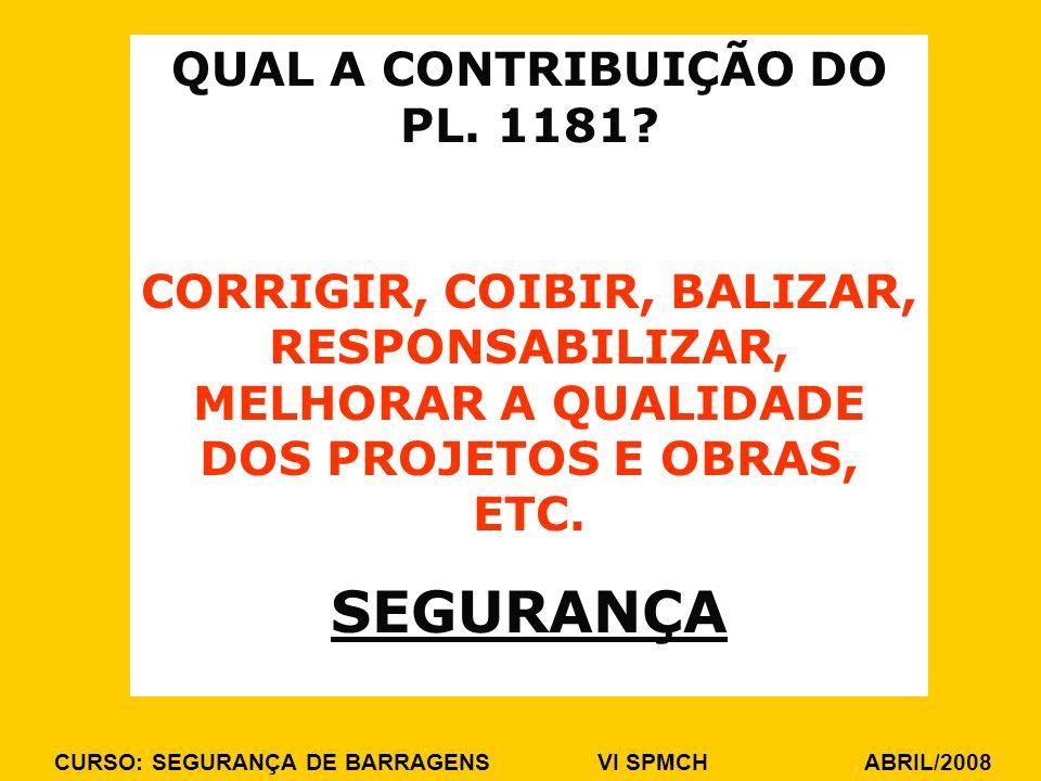 CURSO: SEGURANÇA DE BARRAGENS VI SPMCH ABRIL/2008 QUAL A CONTRIBUIÇÃO DO PL. 1181? CORRIGIR, COIBIR, BALIZAR, RESPONSABILIZAR, MELHORAR A QUALIDADE DO