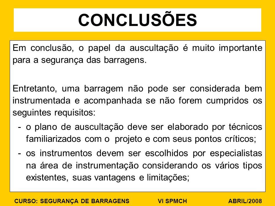 CURSO: SEGURANÇA DE BARRAGENS VI SPMCH ABRIL/2008 Em conclusão, o papel da auscultação é muito importante para a segurança das barragens. Entretanto,