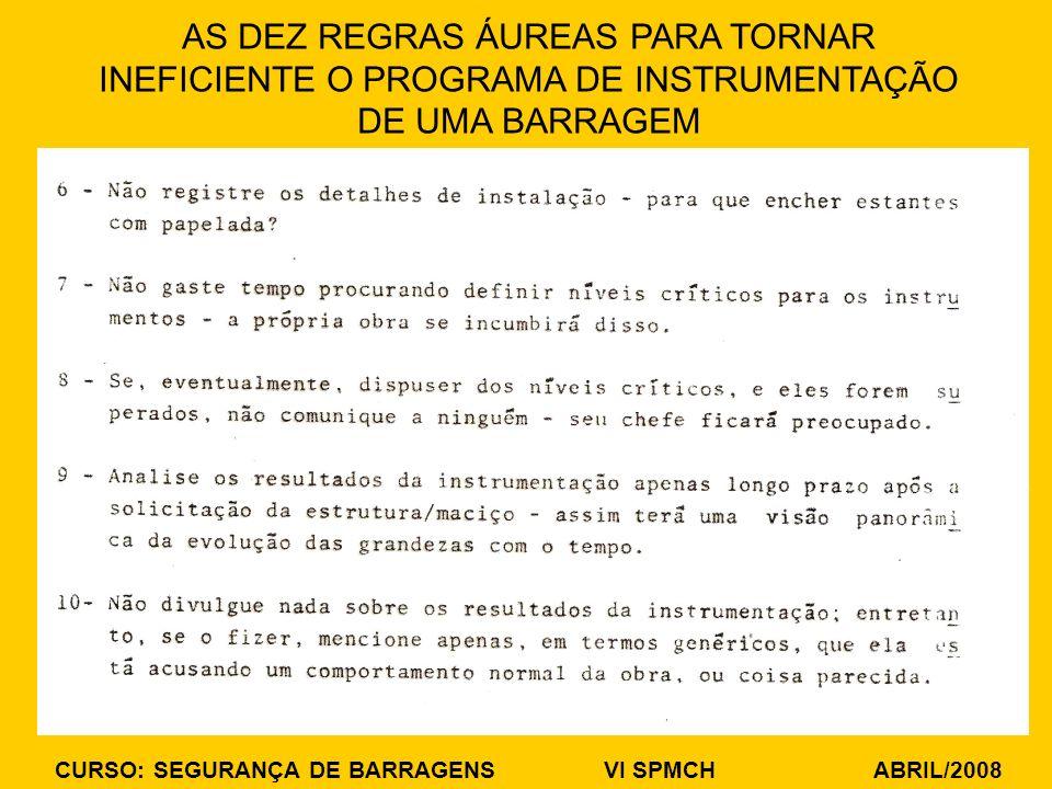 CURSO: SEGURANÇA DE BARRAGENS VI SPMCH ABRIL/2008 AS DEZ REGRAS ÁUREAS PARA TORNAR INEFICIENTE O PROGRAMA DE INSTRUMENTAÇÃO DE UMA BARRAGEM
