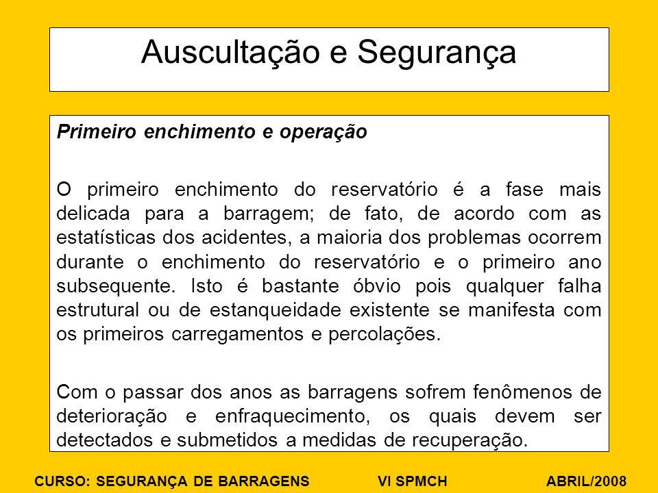 CURSO: SEGURANÇA DE BARRAGENS VI SPMCH ABRIL/2008 Auscultação e Segurança Primeiro enchimento e operação O primeiro enchimento do reservatório é a fas