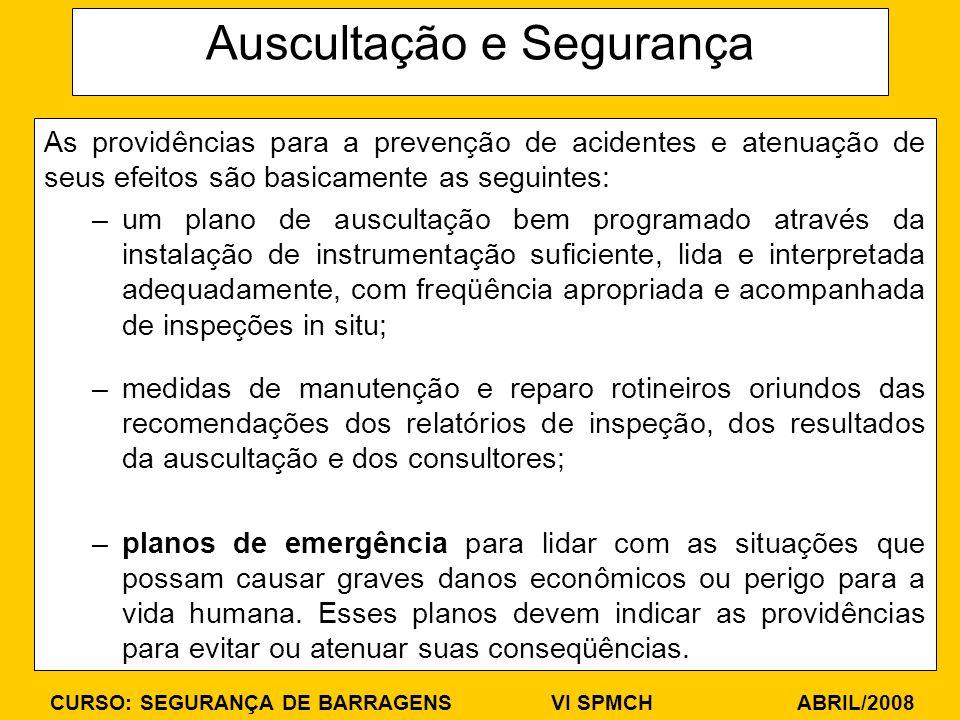 CURSO: SEGURANÇA DE BARRAGENS VI SPMCH ABRIL/2008 Auscultação e Segurança As providências para a prevenção de acidentes e atenuação de seus efeitos sã
