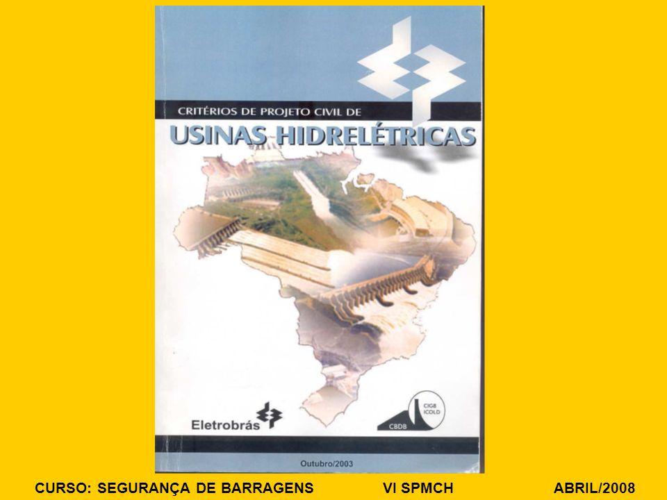 CURSO: SEGURANÇA DE BARRAGENS VI SPMCH ABRIL/2008