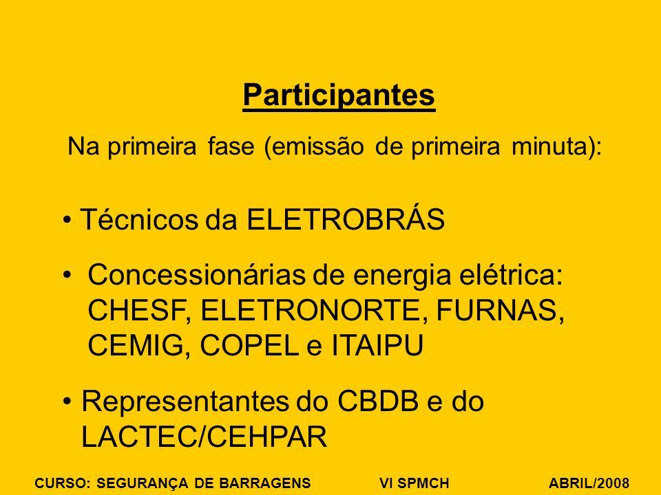 CURSO: SEGURANÇA DE BARRAGENS VI SPMCH ABRIL/2008 Na primeira fase (emissão de primeira minuta): Participantes Técnicos da ELETROBRÁS Concessionárias de energia elétrica: CHESF, ELETRONORTE, FURNAS, CEMIG, COPEL e ITAIPU Representantes do CBDB e do LACTEC/CEHPAR