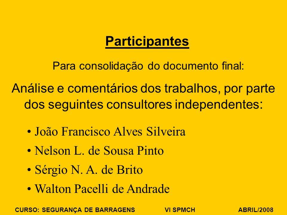 CURSO: SEGURANÇA DE BARRAGENS VI SPMCH ABRIL/2008 Para consolidação do documento final: Participantes Análise e comentários dos trabalhos, por parte d