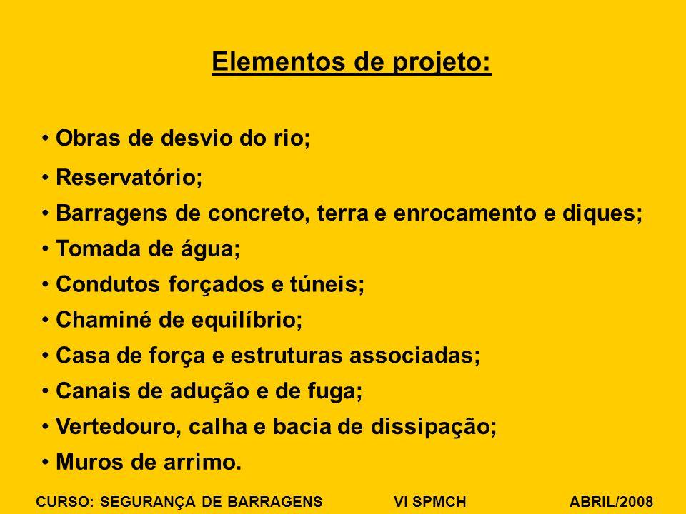CURSO: SEGURANÇA DE BARRAGENS VI SPMCH ABRIL/2008 Obras de desvio do rio; Elementos de projeto: Reservatório; Barragens de concreto, terra e enrocamen