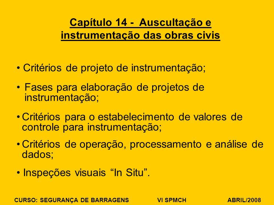 CURSO: SEGURANÇA DE BARRAGENS VI SPMCH ABRIL/2008 Critérios de projeto de instrumentação; Capítulo 14 - Auscultação e instrumentação das obras civis F