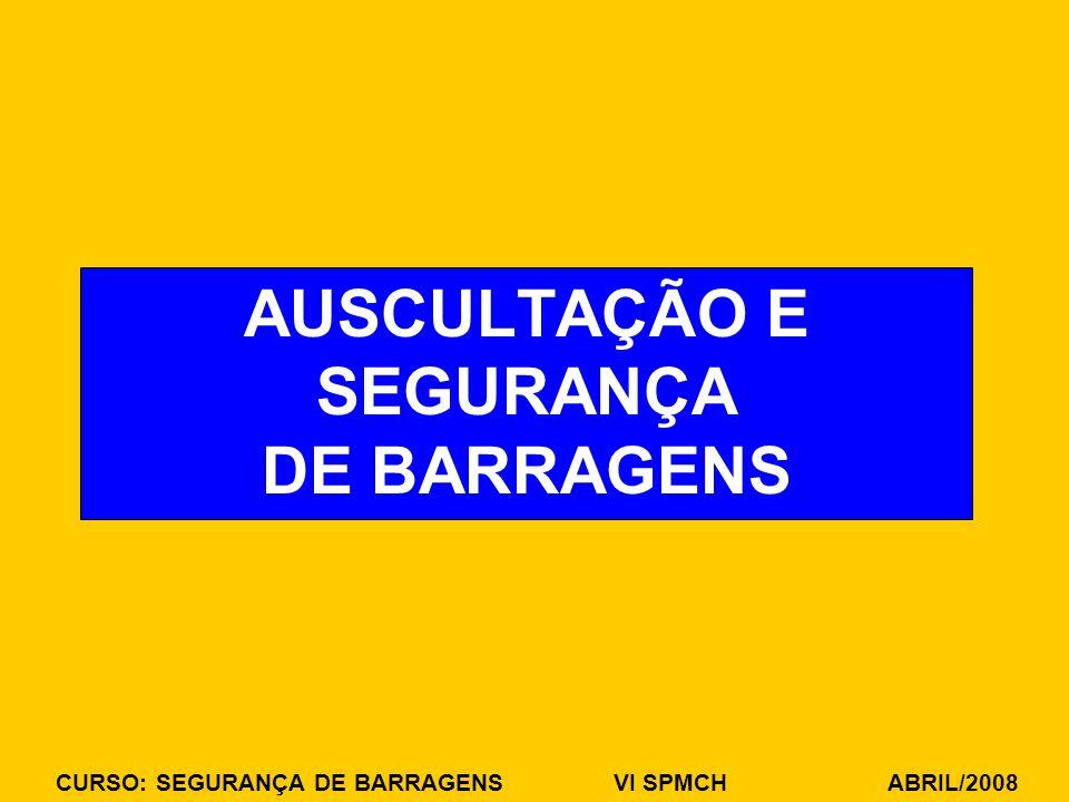 CURSO: SEGURANÇA DE BARRAGENS VI SPMCH ABRIL/2008 AUSCULTAÇÃO E SEGURANÇA DE BARRAGENS