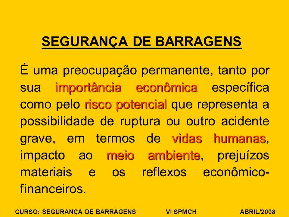 CURSO: SEGURANÇA DE BARRAGENS VI SPMCH ABRIL/2008 SEGURANÇA DE BARRAGENS importância econômica risco potencial vidas humanas meio ambiente É uma preoc