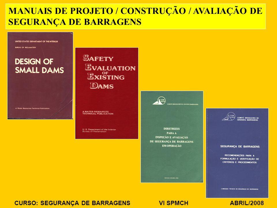 CURSO: SEGURANÇA DE BARRAGENS VI SPMCH ABRIL/2008 MANUAIS DE PROJETO / CONSTRUÇÃO / AVALIAÇÃO DE SEGURANÇA DE BARRAGENS