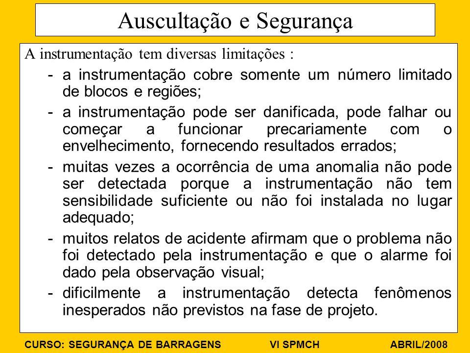 CURSO: SEGURANÇA DE BARRAGENS VI SPMCH ABRIL/2008 Auscultação e Segurança A instrumentação tem diversas limitações : -a instrumentação cobre somente u