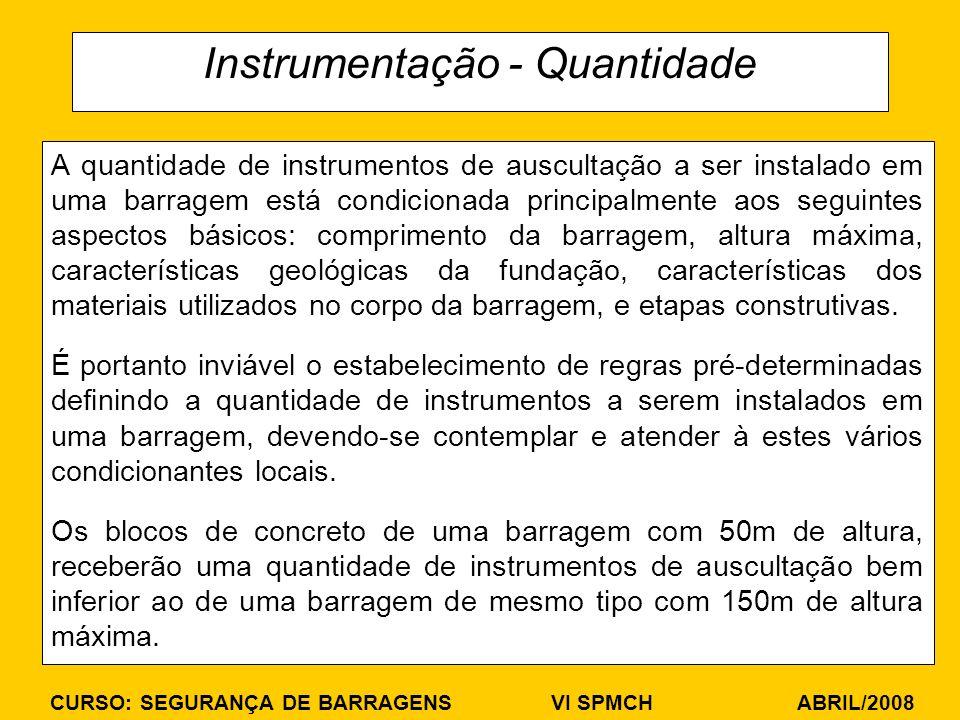 CURSO: SEGURANÇA DE BARRAGENS VI SPMCH ABRIL/2008 Instrumentação - Quantidade A quantidade de instrumentos de auscultação a ser instalado em uma barra