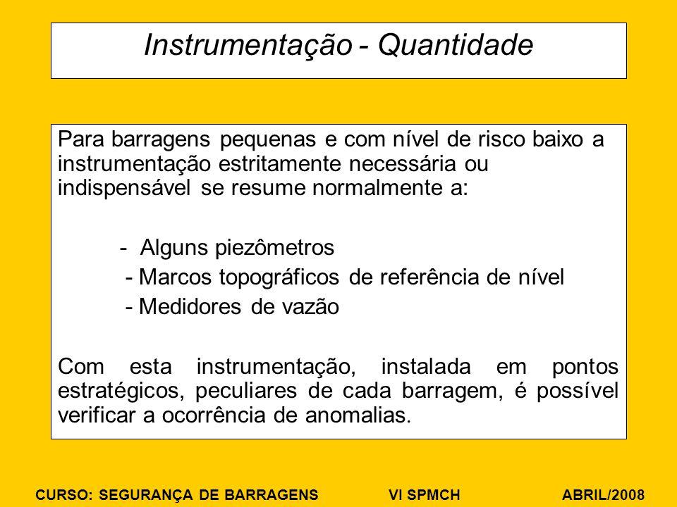 CURSO: SEGURANÇA DE BARRAGENS VI SPMCH ABRIL/2008 Instrumentação - Quantidade Para barragens pequenas e com nível de risco baixo a instrumentação estr