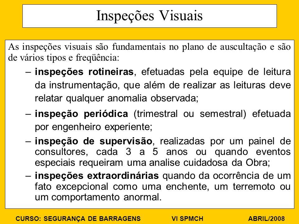 CURSO: SEGURANÇA DE BARRAGENS VI SPMCH ABRIL/2008 Inspeções Visuais As inspeções visuais são fundamentais no plano de auscultação e são de vários tipos e freqüência: –inspeções rotineiras, efetuadas pela equipe de leitura da instrumentação, que além de realizar as leituras deve relatar qualquer anomalia observada; –inspeção periódica (trimestral ou semestral) efetuada por engenheiro experiente; –inspeção de supervisão, realizadas por um painel de consultores, cada 3 a 5 anos ou quando eventos especiais requeiram uma analise cuidadosa da Obra; –inspeções extraordinárias quando da ocorrência de um fato excepcional como uma enchente, um terremoto ou um comportamento anormal.