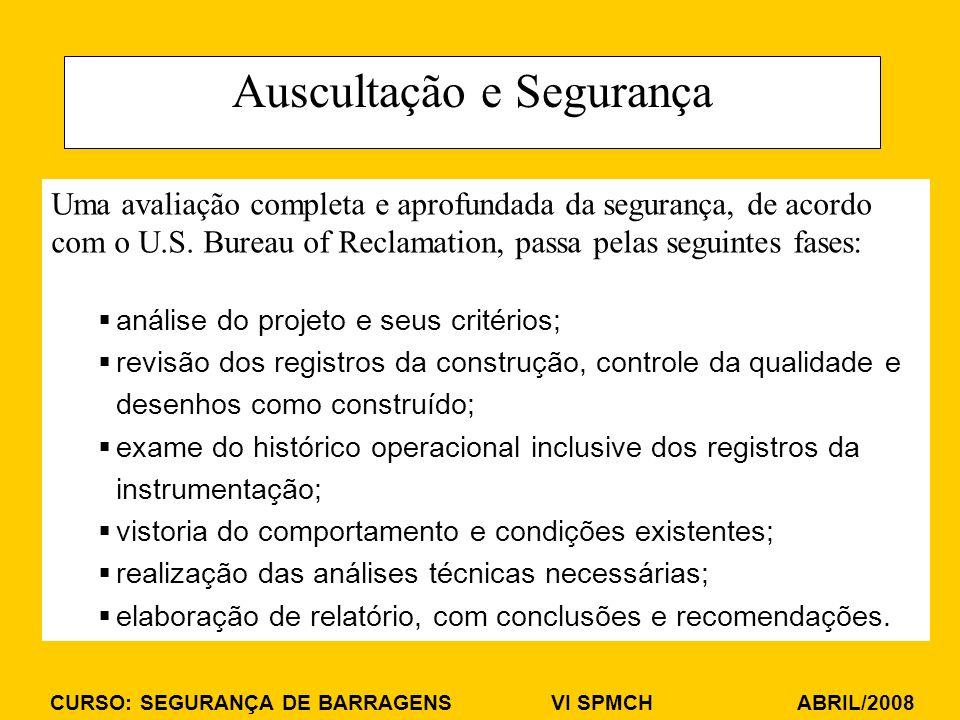 CURSO: SEGURANÇA DE BARRAGENS VI SPMCH ABRIL/2008 Auscultação e Segurança Uma avaliação completa e aprofundada da segurança, de acordo com o U.S. Bure
