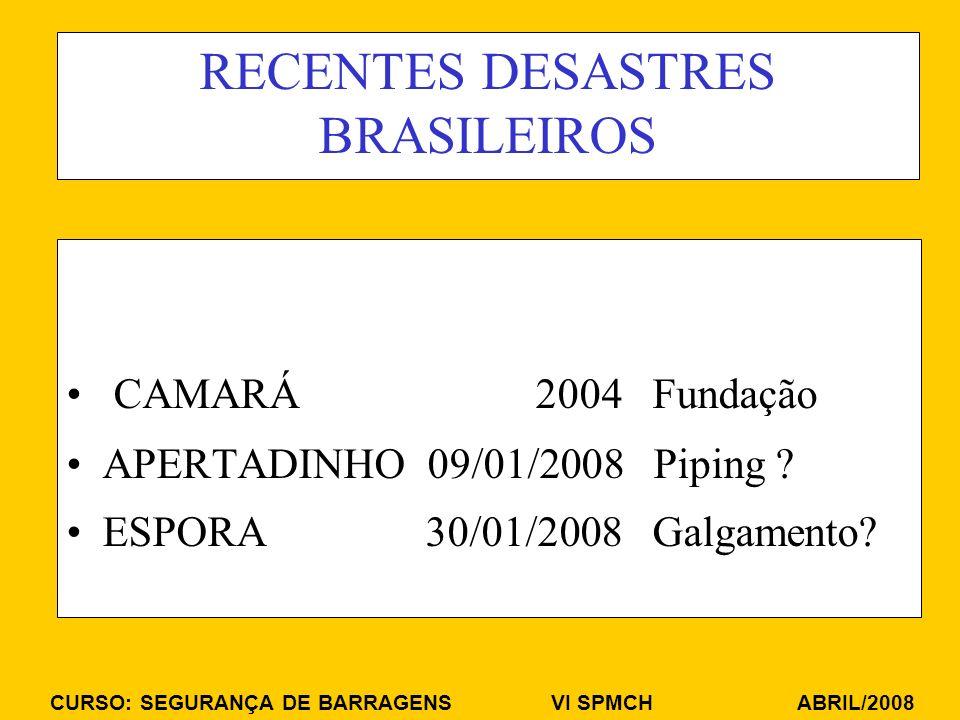 CURSO: SEGURANÇA DE BARRAGENS VI SPMCH ABRIL/2008 RECENTES DESASTRES BRASILEIROS CAMARÁ 2004 Fundação APERTADINHO 09/01/2008 Piping ? ESPORA 30/01/200