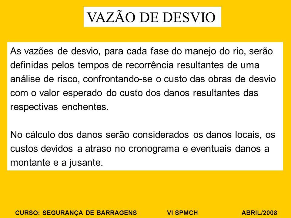 CURSO: SEGURANÇA DE BARRAGENS VI SPMCH ABRIL/2008 As vazões de desvio, para cada fase do manejo do rio, serão definidas pelos tempos de recorrência re