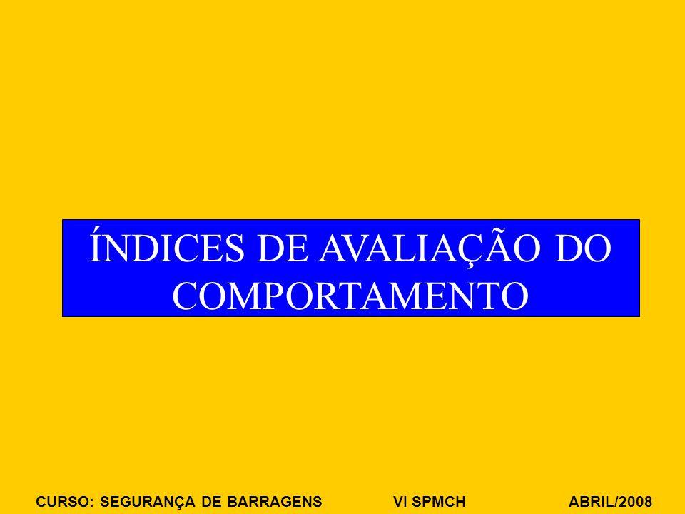 CURSO: SEGURANÇA DE BARRAGENS VI SPMCH ABRIL/2008 ÍNDICES DE AVALIAÇÃO DO COMPORTAMENTO