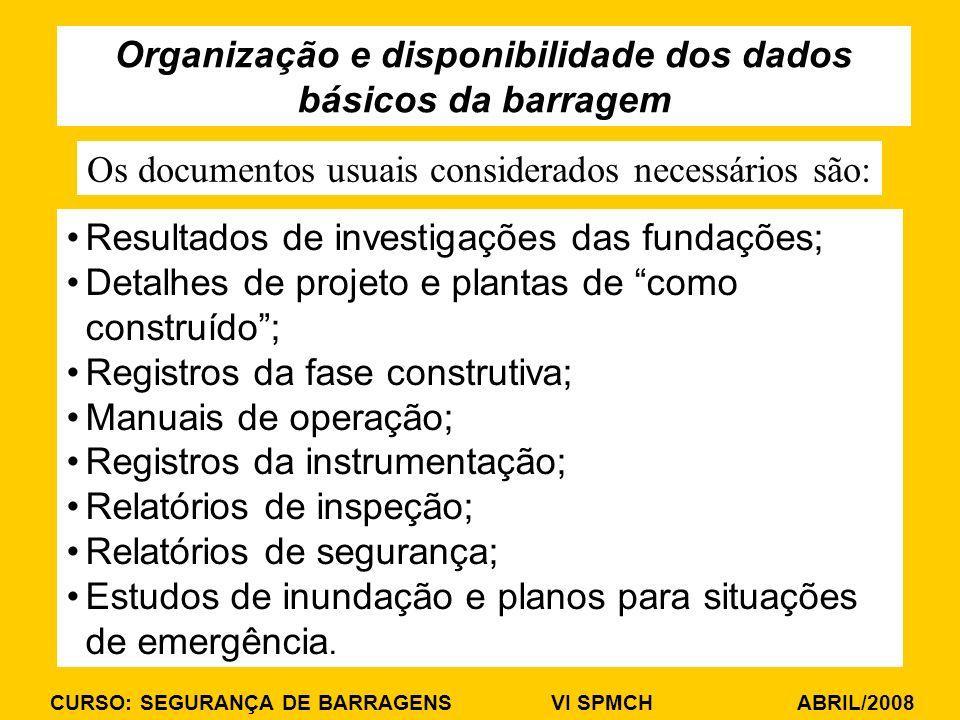 CURSO: SEGURANÇA DE BARRAGENS VI SPMCH ABRIL/2008 Resultados de investigações das fundações; Detalhes de projeto e plantas de como construído; Registr