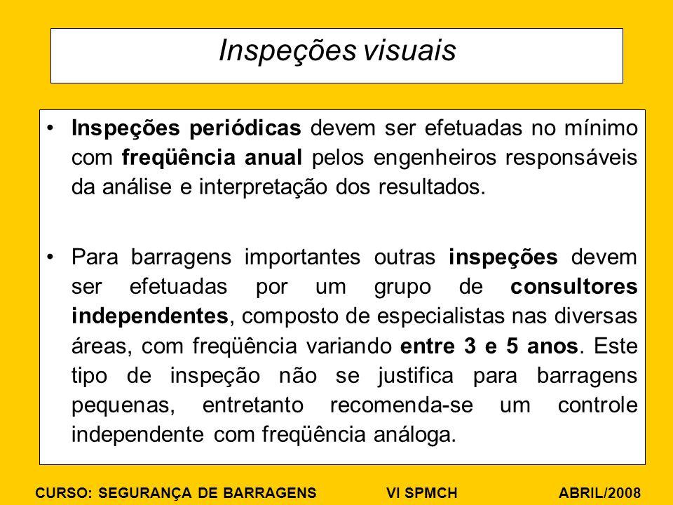CURSO: SEGURANÇA DE BARRAGENS VI SPMCH ABRIL/2008 Inspeções visuais Inspeções periódicas devem ser efetuadas no mínimo com freqüência anual pelos engenheiros responsáveis da análise e interpretação dos resultados.