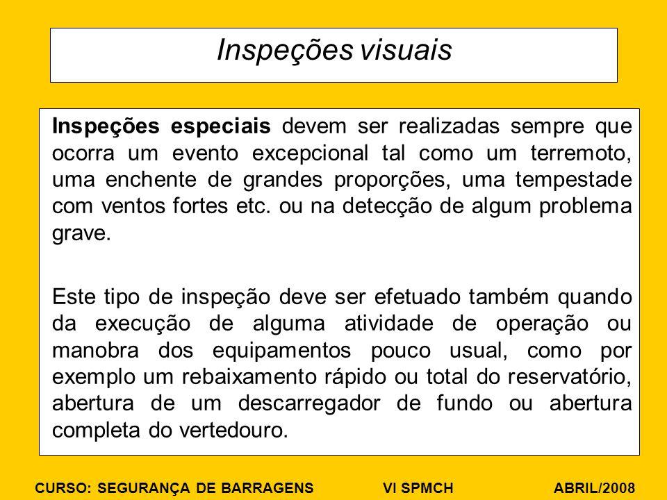 CURSO: SEGURANÇA DE BARRAGENS VI SPMCH ABRIL/2008 Inspeções visuais Inspeções especiais devem ser realizadas sempre que ocorra um evento excepcional t