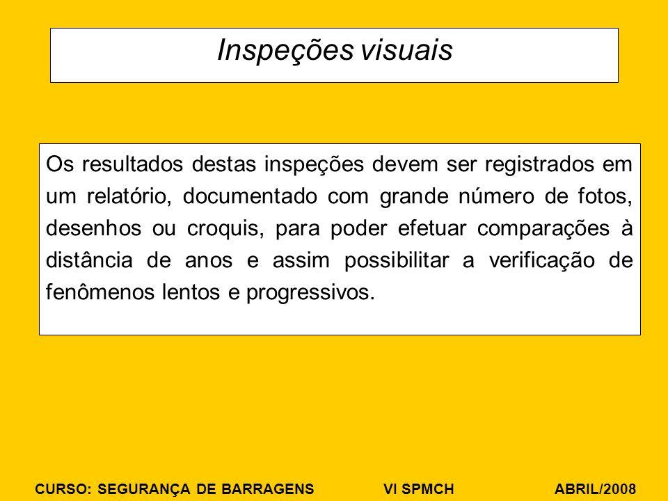 CURSO: SEGURANÇA DE BARRAGENS VI SPMCH ABRIL/2008 Inspeções visuais Os resultados destas inspeções devem ser registrados em um relatório, documentado