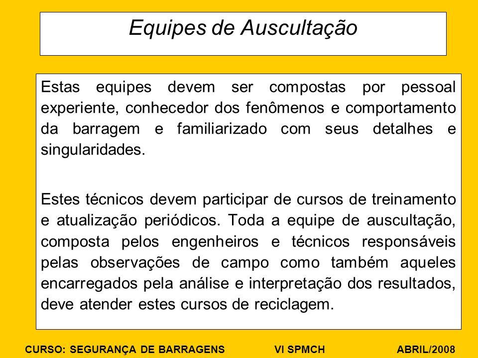 CURSO: SEGURANÇA DE BARRAGENS VI SPMCH ABRIL/2008 Equipes de Auscultação Estas equipes devem ser compostas por pessoal experiente, conhecedor dos fenô