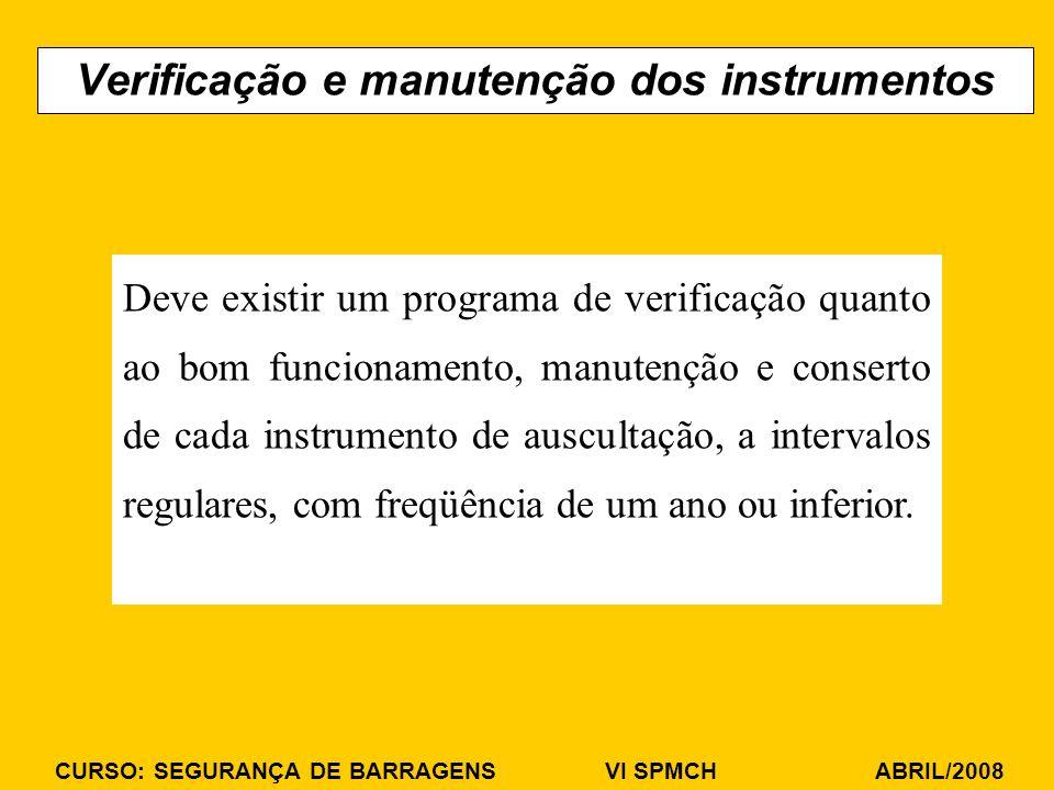 CURSO: SEGURANÇA DE BARRAGENS VI SPMCH ABRIL/2008 Verificação e manutenção dos instrumentos Deve existir um programa de verificação quanto ao bom funcionamento, manutenção e conserto de cada instrumento de auscultação, a intervalos regulares, com freqüência de um ano ou inferior.