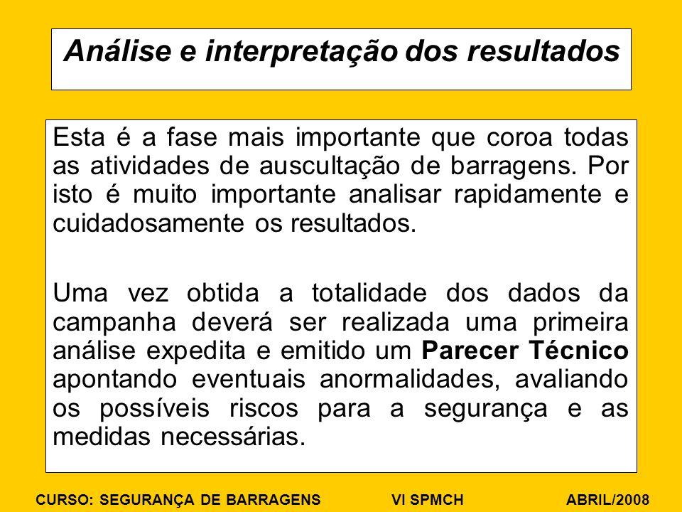 CURSO: SEGURANÇA DE BARRAGENS VI SPMCH ABRIL/2008 Análise e interpretação dos resultados Esta é a fase mais importante que coroa todas as atividades d