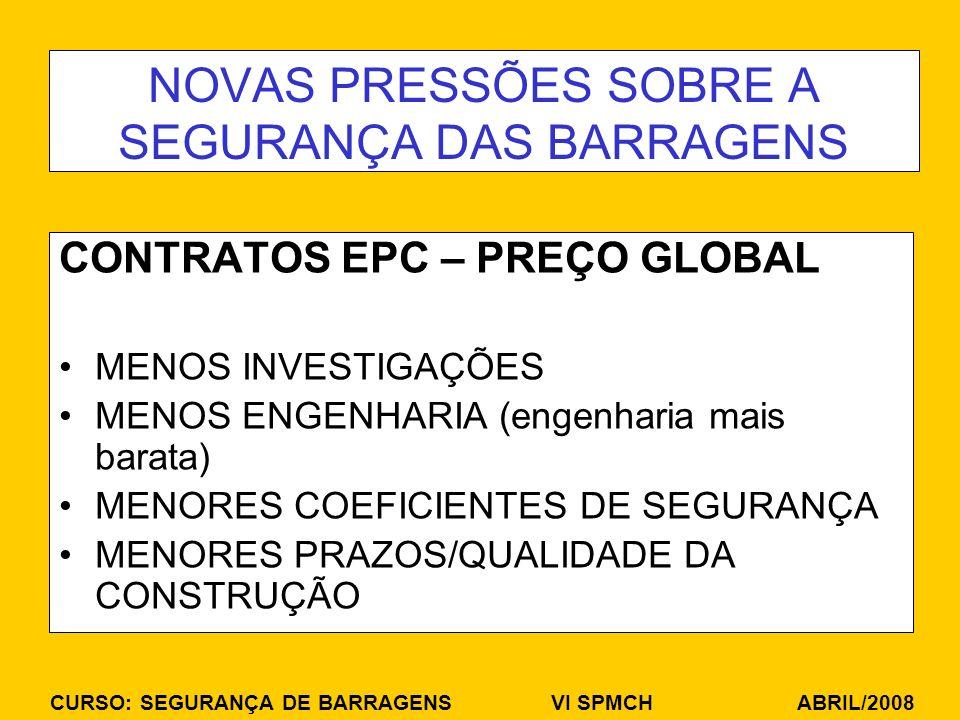 CURSO: SEGURANÇA DE BARRAGENS VI SPMCH ABRIL/2008 NOVAS PRESSÕES SOBRE A SEGURANÇA DAS BARRAGENS CONTRATOS EPC – PREÇO GLOBAL MENOS INVESTIGAÇÕES MENOS ENGENHARIA (engenharia mais barata) MENORES COEFICIENTES DE SEGURANÇA MENORES PRAZOS/QUALIDADE DA CONSTRUÇÃO