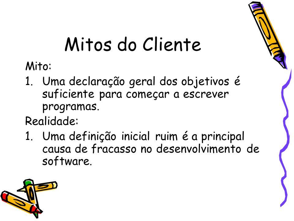 Mitos do Cliente Mito: 1.Uma declaração geral dos objetivos é suficiente para começar a escrever programas. Realidade: 1.Uma definição inicial ruim é