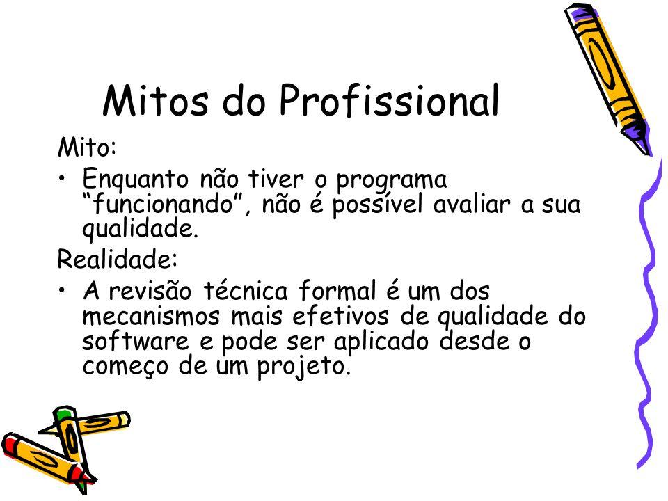Mitos do Profissional Mito: Enquanto não tiver o programa funcionando, não é possível avaliar a sua qualidade. Realidade: A revisão técnica formal é u