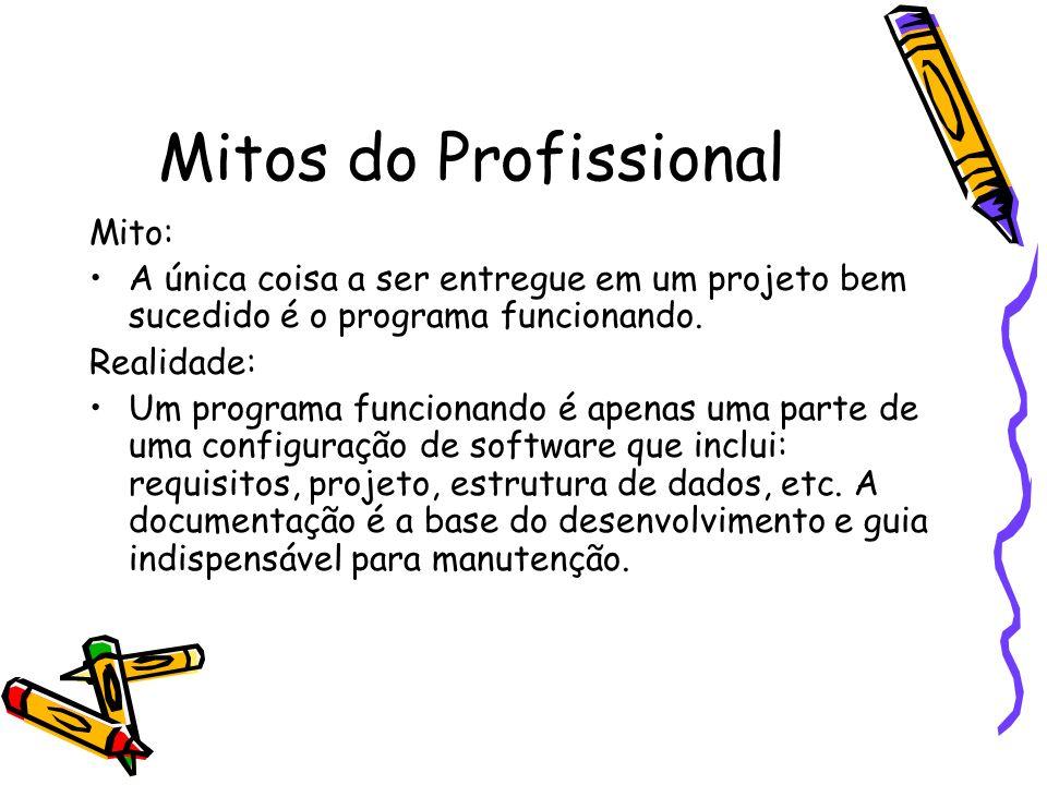 Mitos do Profissional Mito: A única coisa a ser entregue em um projeto bem sucedido é o programa funcionando. Realidade: Um programa funcionando é ape