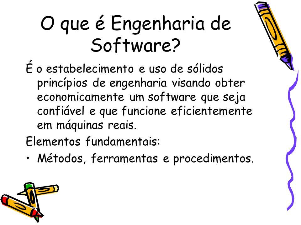 O que é Engenharia de Software? É o estabelecimento e uso de sólidos princípios de engenharia visando obter economicamente um software que seja confiá
