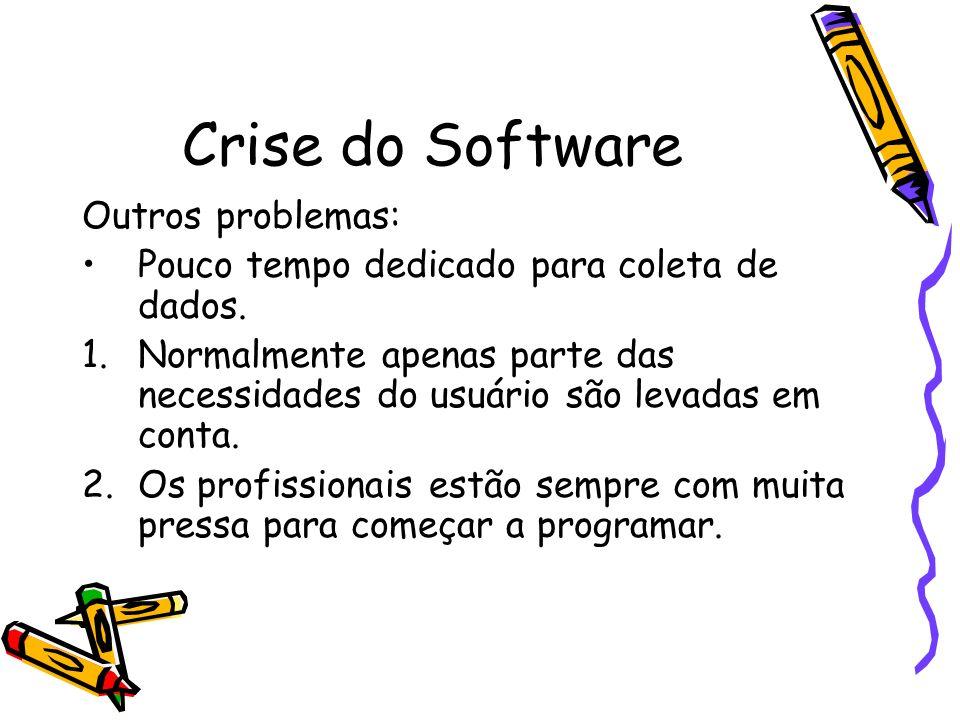 Crise do Software Outros problemas: Pouco tempo dedicado para coleta de dados. 1.Normalmente apenas parte das necessidades do usuário são levadas em c