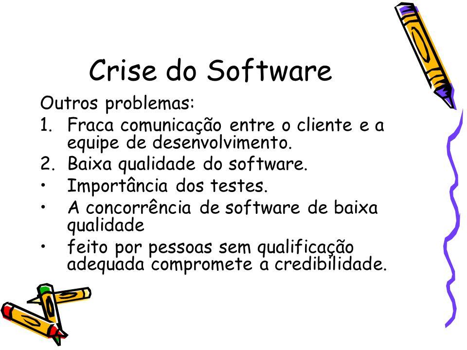Crise do Software Outros problemas: 1.Fraca comunicação entre o cliente e a equipe de desenvolvimento. 2.Baixa qualidade do software. Importância dos