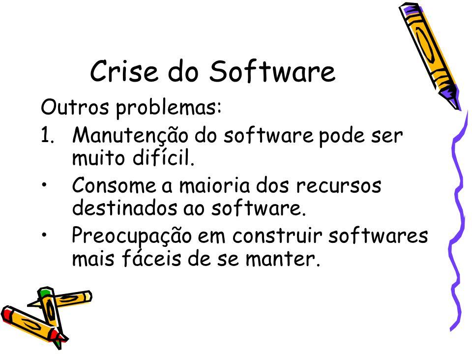 Crise do Software Outros problemas: 1.Manutenção do software pode ser muito difícil. Consome a maioria dos recursos destinados ao software. Preocupaçã