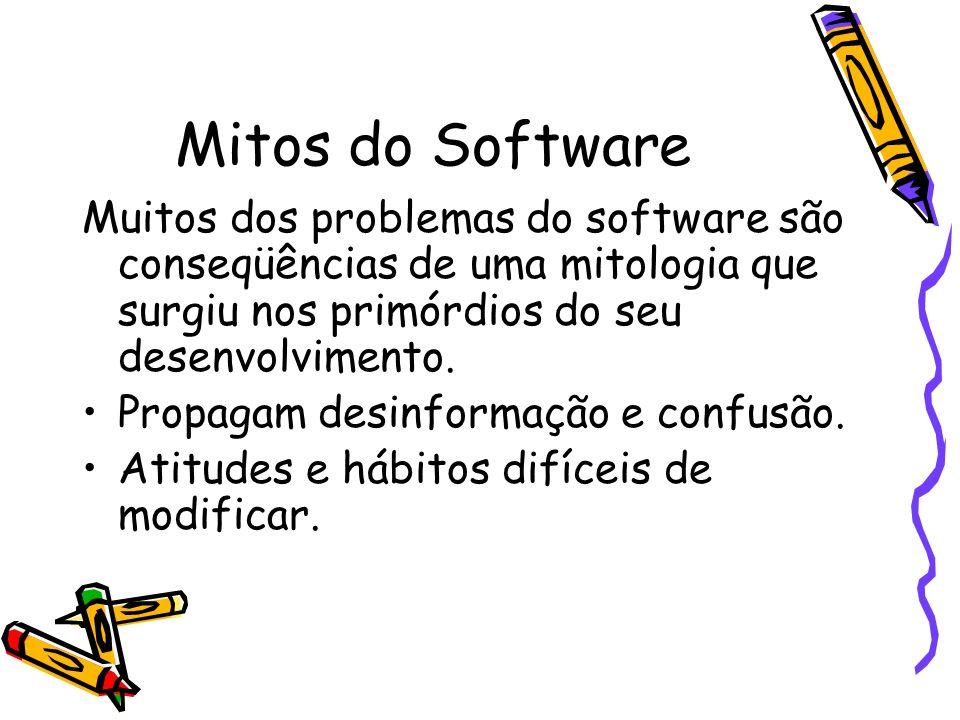 Mitos do Software Muitos dos problemas do software são conseqüências de uma mitologia que surgiu nos primórdios do seu desenvolvimento. Propagam desin