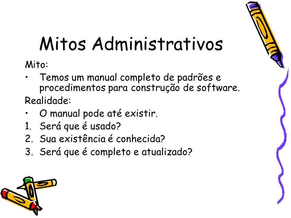 Mitos Administrativos Mito: Temos um manual completo de padrões e procedimentos para construção de software. Realidade: O manual pode até existir. 1.S