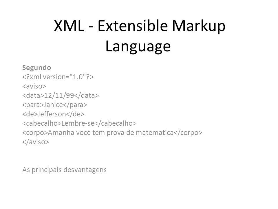 XML - Extensible Markup Language Segundo 12/11/99 Janice Jefferson Lembre-se Amanha voce tem prova de matematica As principais desvantagens