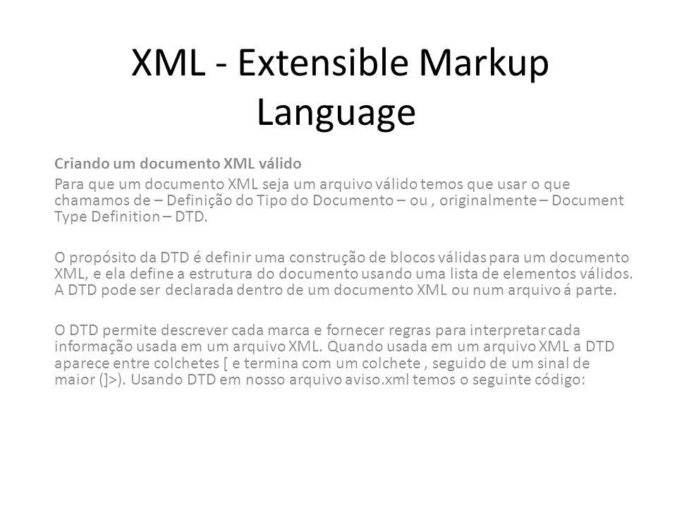 XML - Extensible Markup Language Criando um documento XML válido Para que um documento XML seja um arquivo válido temos que usar o que chamamos de – D