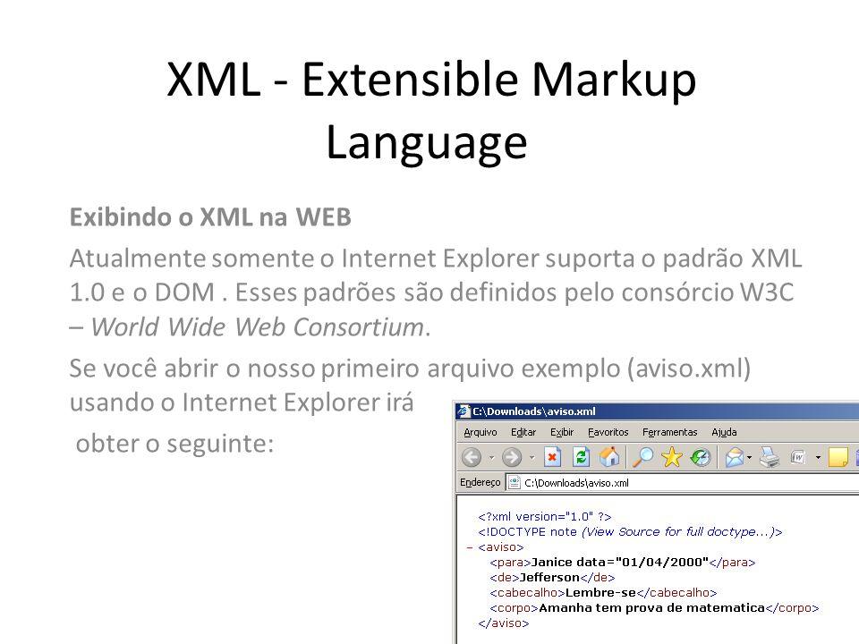 XML - Extensible Markup Language Exibindo o XML na WEB Atualmente somente o Internet Explorer suporta o padrão XML 1.0 e o DOM. Esses padrões são defi