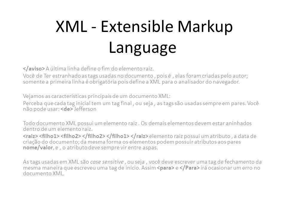 XML - Extensible Markup Language A última linha define o fim do elemento raiz. Você de Ter estranhado as tags usadas no documento, pois é, elas foram