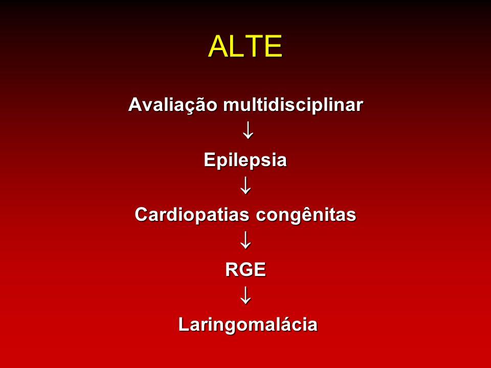 ALTE Avaliação multidisciplinar Epilepsia Cardiopatias congênitas RGE Laringomalácia Laringomalácia
